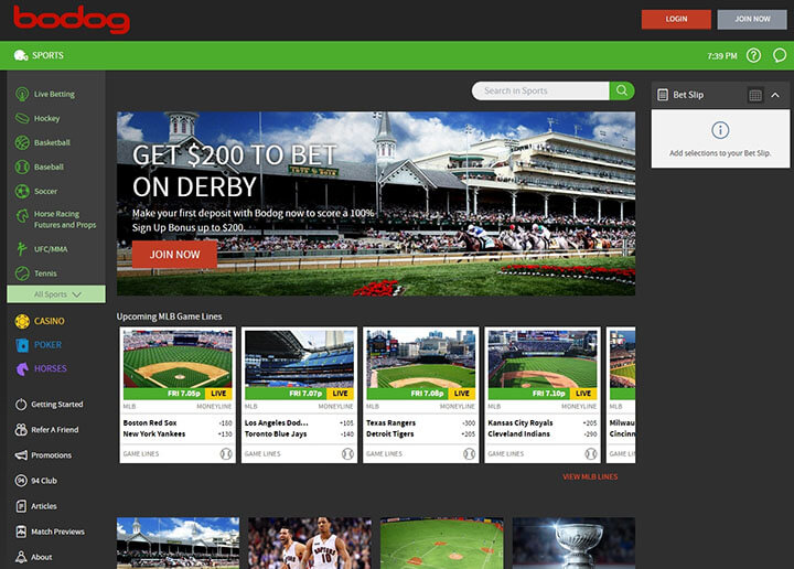 Bodog Sportsbook Screenshot
