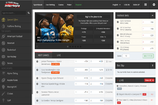 Intertops Sportsbook Screenshot